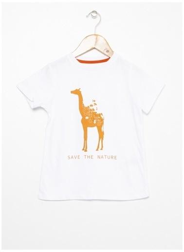 Limon Company Limon Beyaz Bisiklet Yaka Görsel Baskılı Erkek Çocuk T-Shirt Beyaz